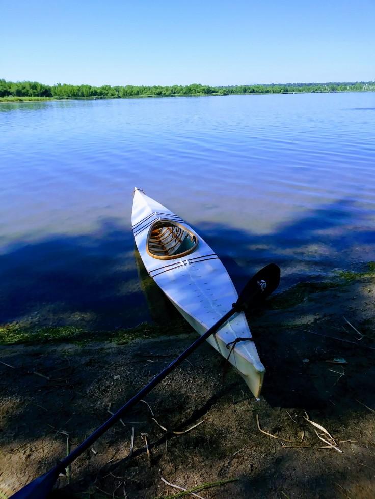 white kayak at cherry creek